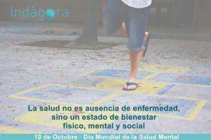 """Imagen de una chica jugando a la rayuela y la frase """"La salud no es ausencia de enfermedad, sino un estado de bienestar fisico, mental y social"""" (OMS)"""